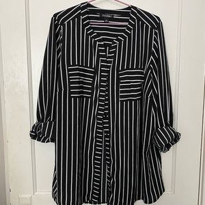 Striped, Button Down Blouse